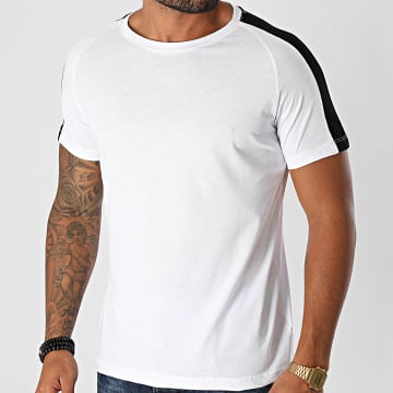 Aarhon - Tee Shirt A Bandes 92805 Blanc Noir