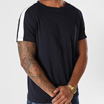 Aarhon - Tee Shirt A Bandes 92805 Bleu Marine Blanc