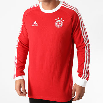 Adidas Performance - Tee Shirt Manches Longues A Bandes FC Bayern Munich Icons GM3994 Rouge