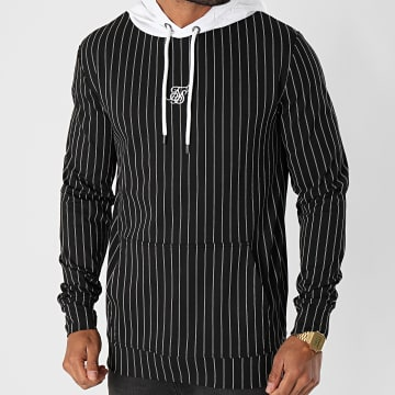 SikSilk - Sweat Capuche A Rayures Muscle Fit 16428 Noir