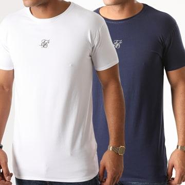 SikSilk - Lot De 2 Tee Shirts 15746 Blanc Bleu Marine
