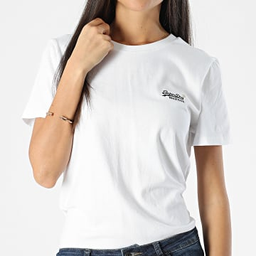 Superdry - Tee Shirt Femme Orange Label Blanc