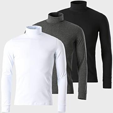 LBO - Lot De 3 Tee Shirt Col Roulé Manches Longues Uni 1340 Noir Gris Anthracite Blanc