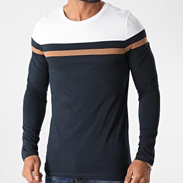 LBO - Tee Shirt Manches Longues Tricolore 1359 Bleu Marine Camel Blanc