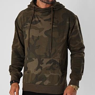 Urban Classics - Sweat Capuche High Neck Camo TB1781 Vert Kaki Camouflage