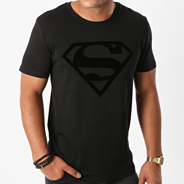 DC Comics - Tee Shirt Superman Logo Velvet Noir Noir