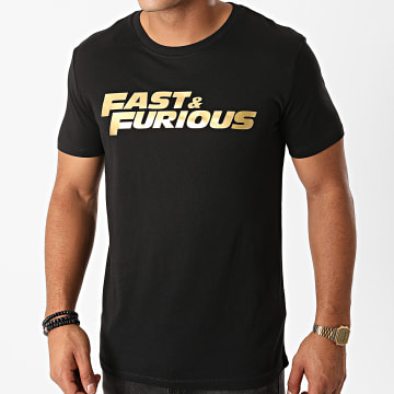 Films et Séries TV - Tee Shirt Fast And Furious Noir Doré