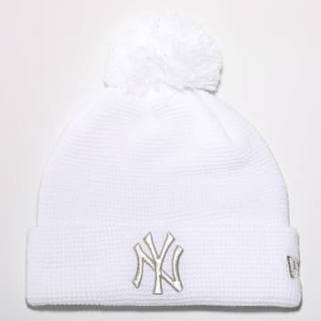 New Era - Bonnet Femme Bobble Cuff Knit 12489959 New York Yankees Blanc