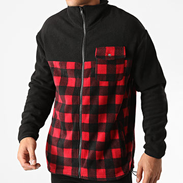 Urban Classics - Veste Zippée A Carreaux Patterned Polar TB3802 Noir Rouge