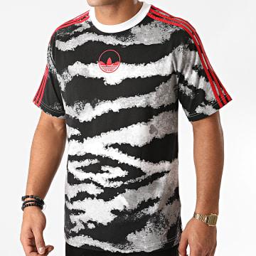 Adidas Originals - Tee Shirt A Bandes Zebra AOP GD2125 Gris Rouge
