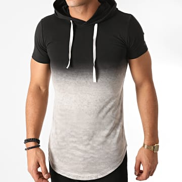 John H - Tee Shirt Capuche Oversize T2606 Gris Chiné Noir Dégradé