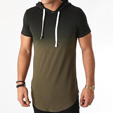 John H - Tee Shirt Capuche Oversize T2606 Vert Kaki Noir Dégradé