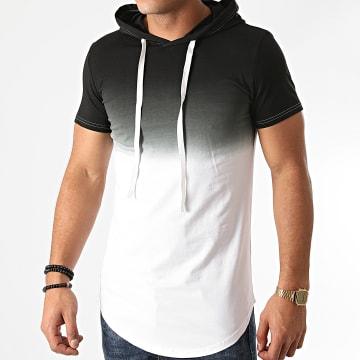 John H - Tee Shirt Capuche Oversize T2606 Blanc Noir Dégradé