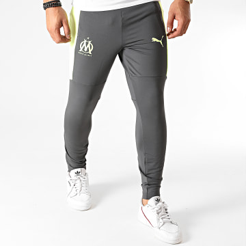 Puma - Pantalon Jogging A Bandes OM Training 757736 Gris Anthracite Jaune Fluo