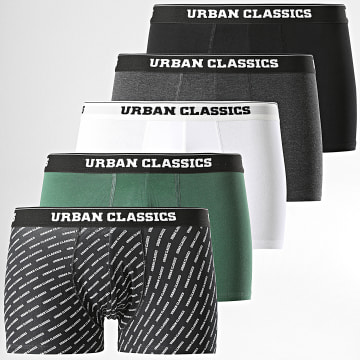 Urban Classics - Lot De 5 Boxers TB3846 Noir Blanc Vert