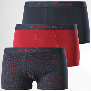 Emporio Armani - Lot De 3 Boxers 111625-9A722 Bleu Marine Rouge