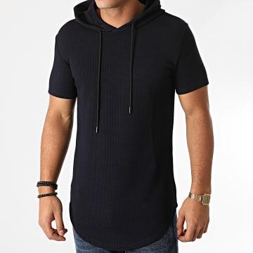 John H - Tee Shirt Capuche Oversize XW03 Bleu Marine