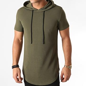 John H - Tee Shirt Capuche Oversize XW09 Vert Kaki