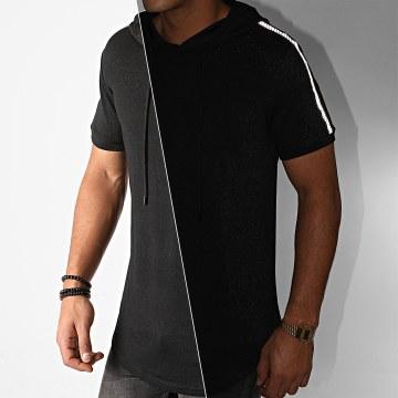John H - Tee Shirt Capuche Oversize A Bandes XW07 Noir Réfléchissant