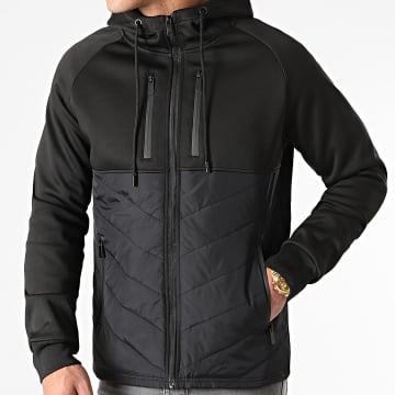 LBO - Veste Zippée Capuche Bimatière 0001 Noir