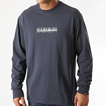Napapijri - Tee Shirt Manches Longues Box Bleu Marine