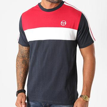 Sergio Tacchini - Tee Shirt Tricolore A Bandes Before 38833 Bleu Marine Rouge Blanc
