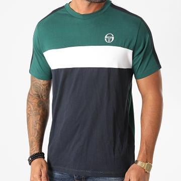 Sergio Tacchini - Tee Shirt A Bandes Before 38833 Vert Bleu Marine Blanc