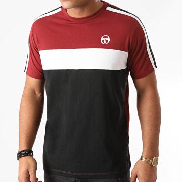 Sergio Tacchini - Tee Shirt A Bandes Before 38833 Bordeaux Noir Blanc