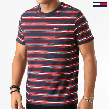 Tommy Jeans - Tee Shirt Poche A Rayures 9372 Bleu Marine Rouge Blanc