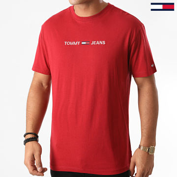 Tommy Jeans - Tee Shirt Straight Logo 9382 Bordeaux