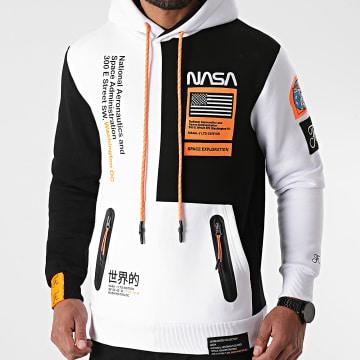 Final Club - Sweat Capuche Nasa Half Limited Edition Noir Blanc Détails Orange Fluo