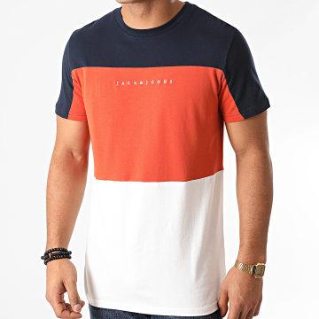 Jack And Jones - Tee Shirt Pro Blanc Orange Bleu Marine