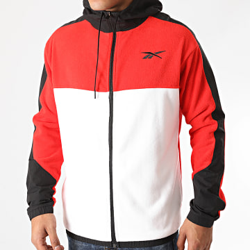 Reebok - Sweat Zippé Capuche Workout Fleece FU3351 Rouge Blanc Noir