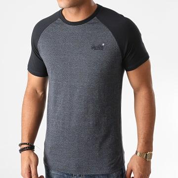 Superdry - Tee Shirt Manches Raglan OL Baseball M1010387A Bleu Marine Chiné