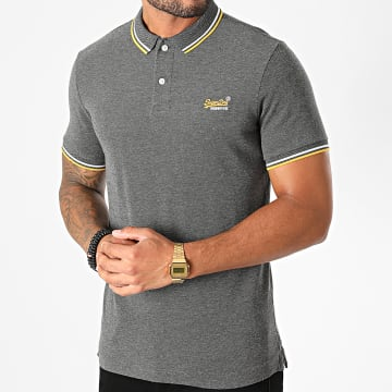 Superdry - Polo Manches Courtes Classic Poolside Pique M1110090A Gris Anthracite Chiné