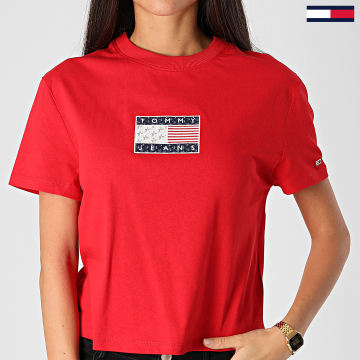 Tommy Jeans - Tee Shirt Crop Femme Star Americana Flage 8482 Rouge