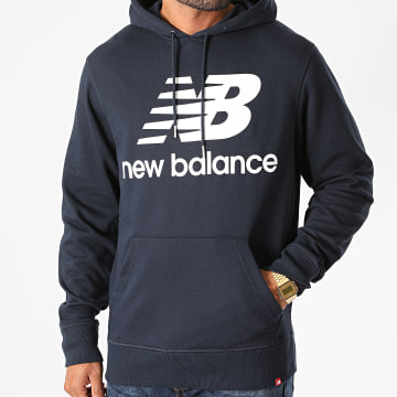 New Balance - Sweat Capuche Essential Stacked Logo MT03558 Bleu Marine