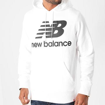 New Balance - Sweat Capuche Essential Stacked Logo MT03558 Blanc