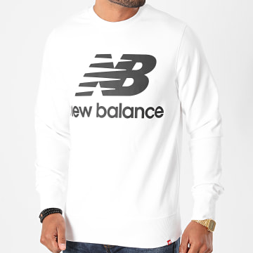 New Balance - Sweat Crewneck Essential Stacked Logo MT03560 Blanc