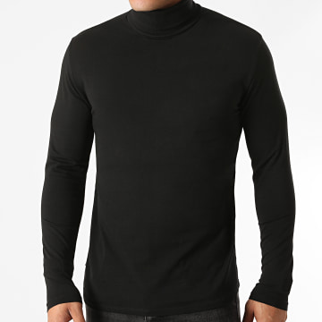 Only And Sons - Tee Shirt Col Roulé Manches Longues Lasse Noir