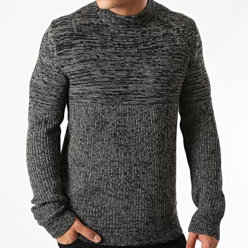 Only And Sons - Pull Col Cheminée Lazlo 3 Gris Chiné
