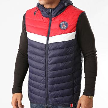 PSG - Doudoune Sans Manches Tricolore P13645 Bleu Marine Rouge Blanc