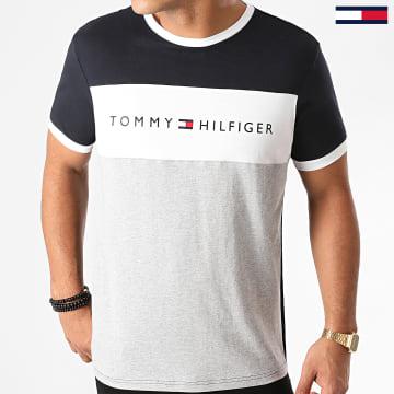 Tommy Hilfiger - Tee Shirt CN Logo Flag 1170 Bleu Marine Gris Chiné
