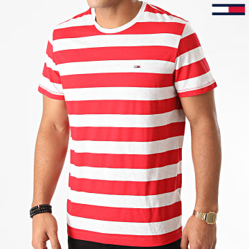 Tommy Jeans - Tee Shirt A Rayures Heather Stripe 6542 Rouge Gris Chiné