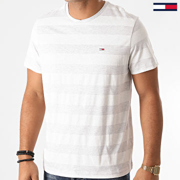 Tommy Jeans - Tee Shirt A Rayures Heather Stripe 6542 Gris Chiné