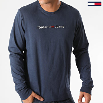 Tommy Jeans - Tee Shirt Manches Longues Straight Logo 9368 Bleu Marine