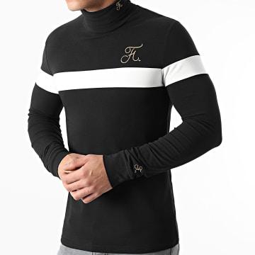 Final Club - Tee Shirt Manches Longues Col Roulé Bicolore Broderie Or 478 Noir