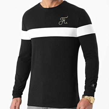 Final Club - Tee Shirt Manches Longues Bicolore Broderie Or 477 Noir