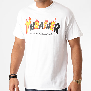Thrasher - Tee Shirt Flame Mag 144568 Blanc