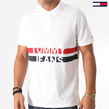 Tommy Jeans - Polo Manches Courtes Block Stripe 9508 Blanc
